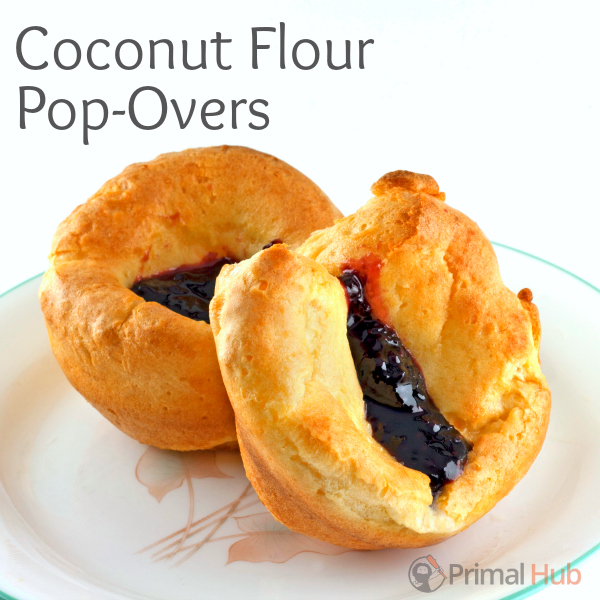 Fresh homemade popovers with black raspberry jelly.